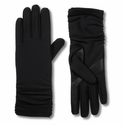 Isotoner® Women's Large-Extra Large Long Spandex Gloves - Black Perspective: front