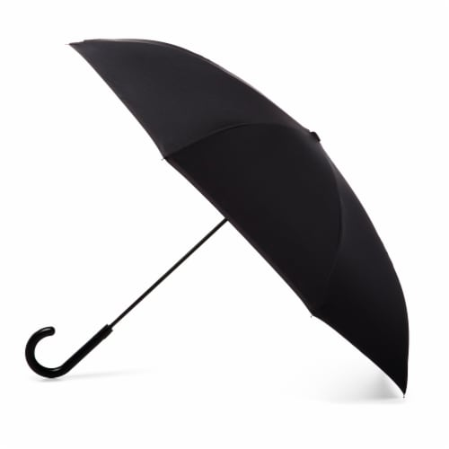 Totes InBrella Reverse Close Umbrella - Black Perspective: front