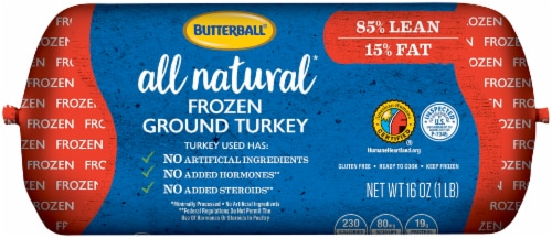 Butterball All Natural Frozen Ground Turkey Chub Perspective: front
