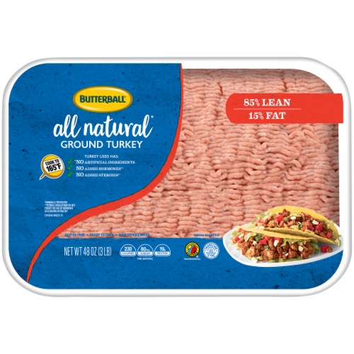 Butterball All Natural 85% Lean Ground Turkey Perspective: front