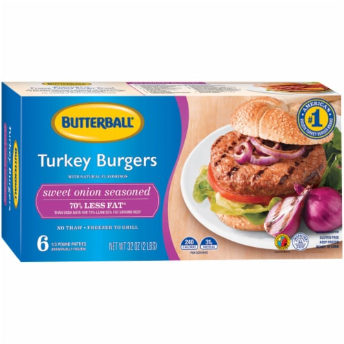 Butterball Sweet Onion Turkey Burgers Perspective: front