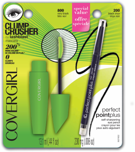 CoverGirl Clump Crush By Lash Blast Mascara Perfect Point Plus Self-Sharpening Eye Pencil Set Perspective: front