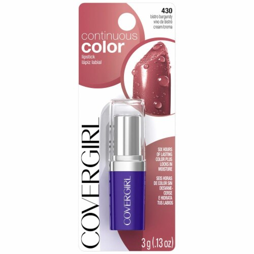 CoverGirl Continuous Color Bistro Burgundy 430 Lipstick Perspective: front