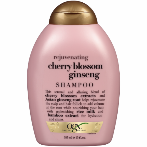 Ogx Rejuvenating Cherry Blossom Ginseng Shampoo Perspective: front