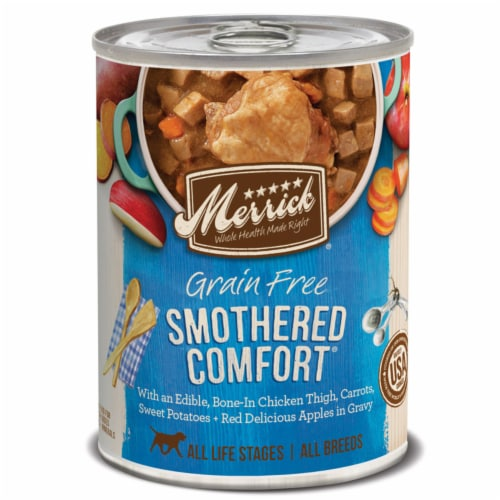 Merrick Smothered Comfort Chicken Chunks in Gravy Dog Food Grain Free 12.5 oz. - Case Of: 12; Perspective: front