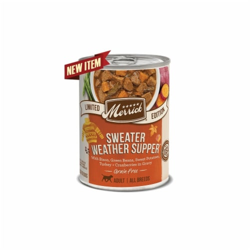 Merrick Pet Food MP28824 12.7 oz Sweater Weather Supper Canned Dog Food - Pack of 12 Perspective: front