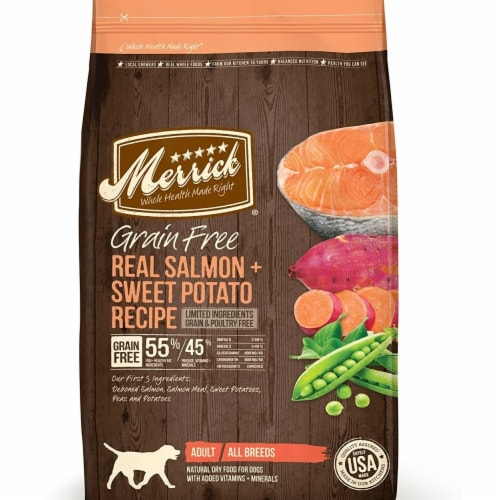 Merrick Pet Food MP39082 22 lbs Merrick Grain Free Lid Salmon Dog Perspective: front