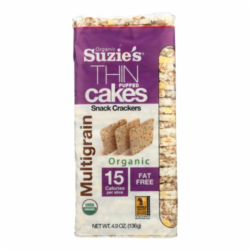 Suzie's Multigrain Thin Puffed Cake Snack Crackers Perspective: front