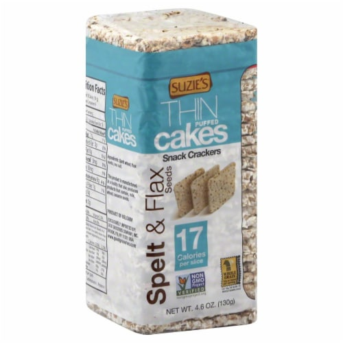 Suzie's Thin Puffed Cakes Spelt &  Flaxseed Crackers Perspective: front