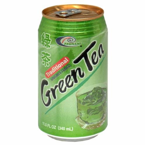 Tsunami  Canned Green Tea Perspective: front