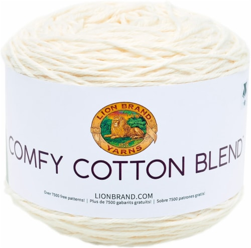 Lion Brand Comfy Cotton Blend Yarn-Whipped Cream Perspective: front