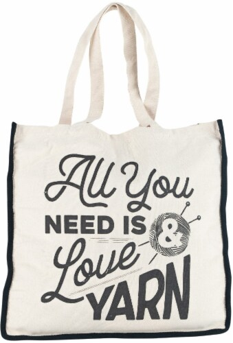 Lion Brand Canvas Tote Bag 14.5 X5 X15 -All You Need Is Love And Yarn Perspective: front