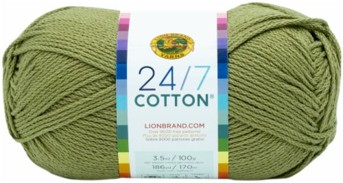 Lion Brand 24/7 Cotton Yarn-Bay Leaf Perspective: front
