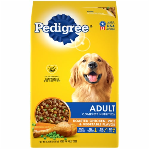 Pedigree Roasted Chicken Rice & Vegetable Dry Adult Dog Food Perspective: front