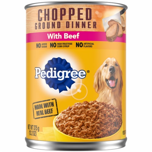 Pedigree Chopped Ground Dinner with Beef Wet Dog Food Perspective: front