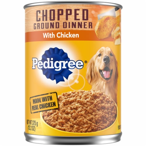 Pedigree Chopped Ground Dinner Can with Chicken Wet Dog Food Perspective: front