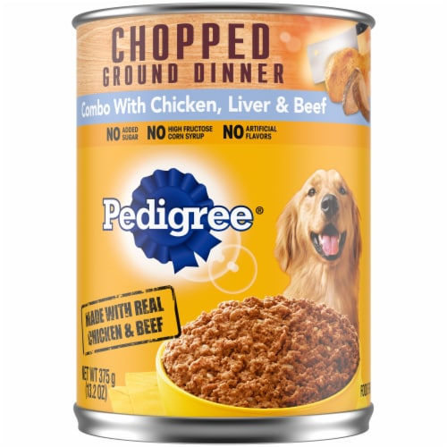 Pedigree® Chopped Ground Dinner Combo with Chicken Liver & Beef Wet Dog Food Perspective: front