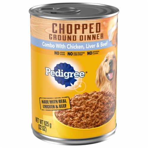 Pedigree Chopped Ground Dinner Combo Can with Chicken Beef & Liver Wet Dog Food Perspective: front