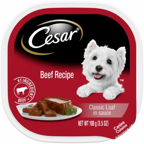 Cesar Beef Recipe Classic Loaf in Sauce Soft Wet Dog Food Trays Perspective: front