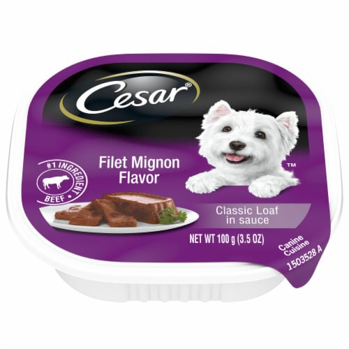 Cesar Filet Mignon Flavor Classic Loaf in Sauce Wet Dog Food Perspective: front