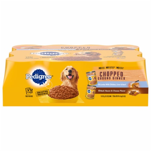 Pedigree Chopped Ground Dinner Adult Wet Dog Food Variety Pack Perspective: front