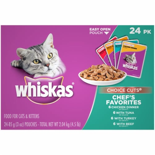 Whiskas Choice Cuts Chef's Favorites Variety Pack Wet Cat Food Pouches Perspective: front