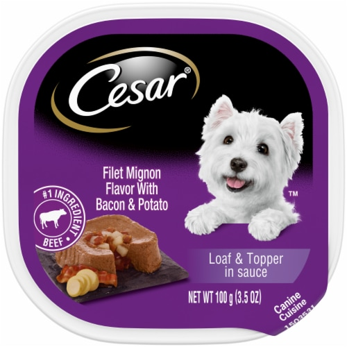 Cesar Filet Mignon Flavor with Bacon & Potato Loaf & Topper in Sauce Wet Dog Food Perspective: front