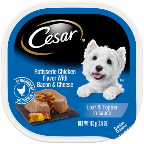 Cesar Rotisserie Chicken Flavor with Bacon & Cheese Loaf & Topper in Sauce Wet Dog Food Perspective: front