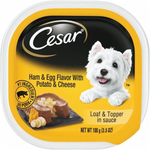 Cesar Loaf & Topper in Sauce Ham & Egg with Potato & Cheese Flavor Wet Dog Food Perspective: front