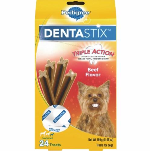 Pedigree Dentastix Triple Action Beef Flavor Mini Dog Treats Perspective: front