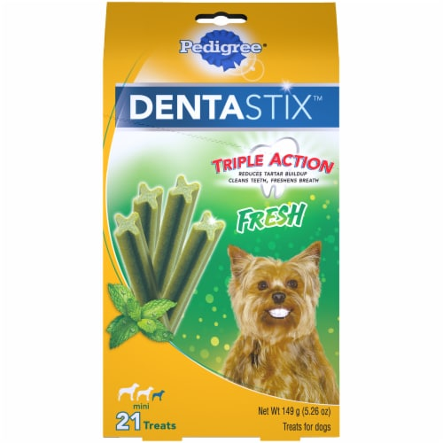 Pedigree DentaStix Triple Action Fresh Oral Care Treats for Small Dogs 21 Count Perspective: front