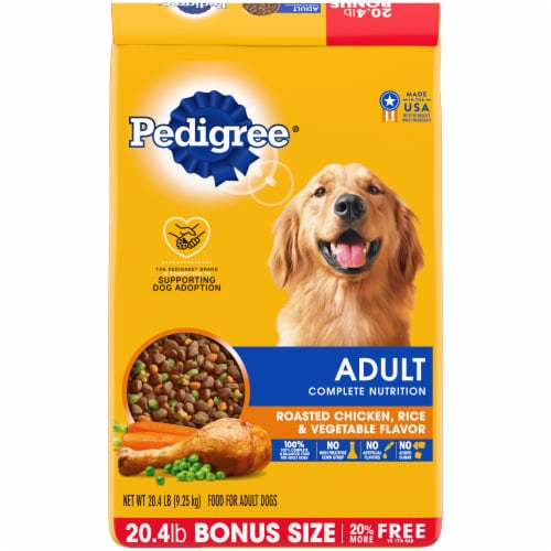 Pedigree Adult Complete Nutrition Roasted Chicken Rice & Vegetable Flavor Dry Dog Food Perspective: front