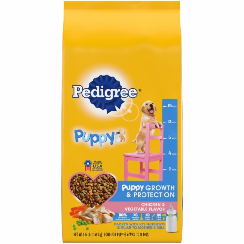 Pedigree® Puppy Growth & Protection Chicken & Vegetable Flavor Dry Puppy Food Perspective: front