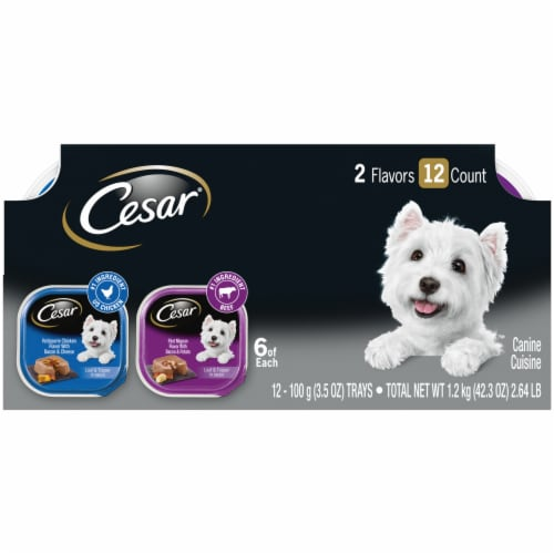 Cesar Loaf & Topper Rotisserie Chicken & Filet Mignon Wet Dog Food Variety Pack Perspective: front