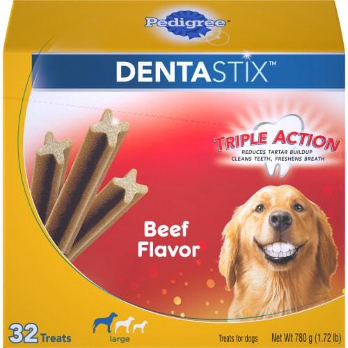 Pedigree Dentastix Triple Action Beef Flavor Large Breed Dog Treats Perspective: front