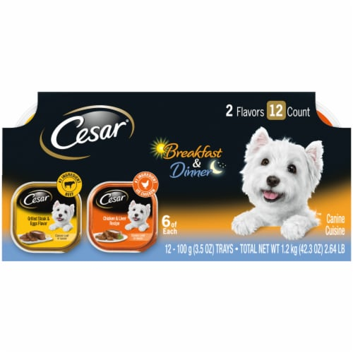 Cesar Breakfast & Dinner Wet Dog Food Variety Pack Perspective: front