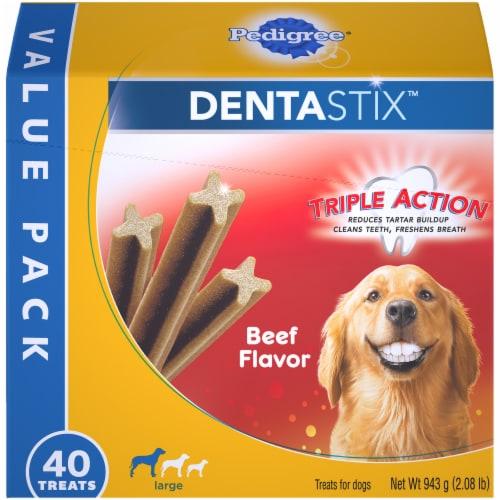Pedigree® Dentastix™ Triple Action Beef Flavor Large Dog Treats Value Pack Perspective: front