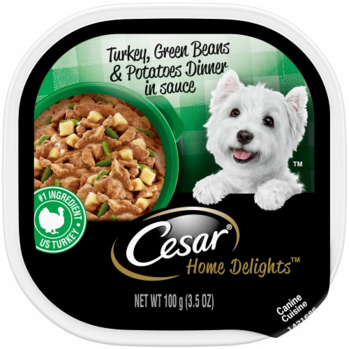 Cesar Home Delights Turkey Green Beans & Potatoes Dinner in Sauce Wet Dog Food Perspective: front
