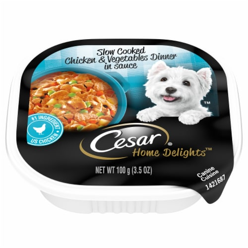 Cesar Home Delights Slow Cooked Chicken & Vegetables Dinner in Sauce Wet Dog Food Perspective: front