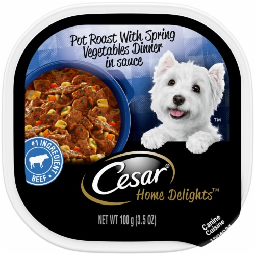 Cesar Home Delights Pot Roast with Spring Vegetables Soft Wet Dog Food Trays Perspective: front