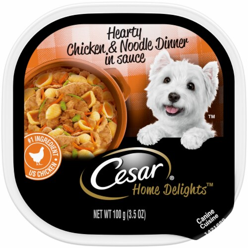 Cesar Home Delights Hearty Chicken & Noodle Dinner Wet Dog Food Tray Perspective: front