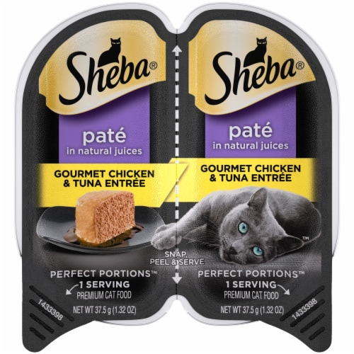 Sheba Perfect Portions Pate Gourmet Chicken & Tuna Entree Wet Cat Food Twin Pack Perspective: front