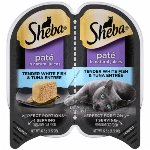 Sheba Perfect Portions Pate Tender Whitefish & Tuna Entree Wet Cat Food Twin Pack Perspective: front