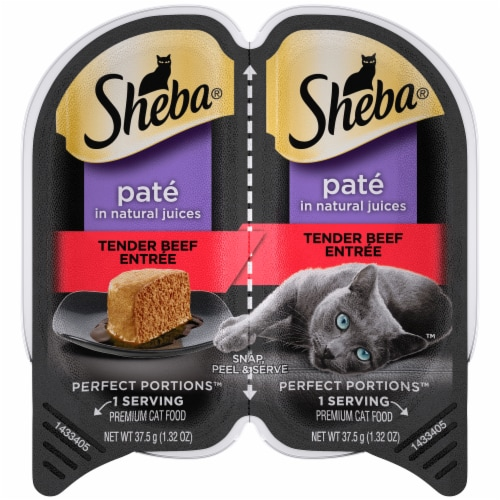 Sheba Perfect Portions Tender Beef Entrée Paté Cat Food Perspective: front