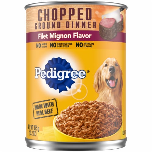 Pedigree Chopped Ground Dinner Filet Mignon Flavor Wet Dog Food Perspective: front