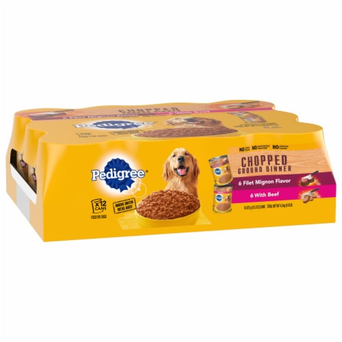 Pedigree Chopped Ground Dinner Filet Mignon & Beef Flavor Wet Dog Food Variety Pack Perspective: front
