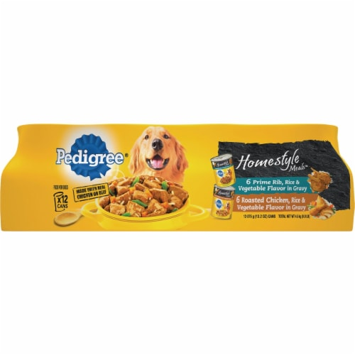 Pedigree Homestyle Meals Prime Rib and Roasted Chicken Wet Dog Food Variety Pack Perspective: front