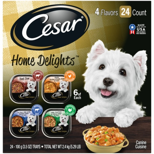 Cesar Home Delights Wet Dog Food Variety Pack 24 Count Perspective: front
