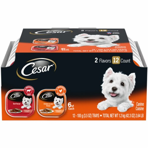 Cesar Canine Cuisine Beef and Chicken & Liver Recipe Wet Dog Food 2 Flavors Variety Packs Perspective: front