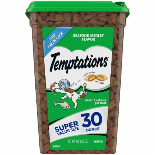 Temptations Seafood Medley Flavor Cat Treats Stay Fresh Pack Perspective: front